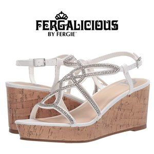 FERGALICIOUS White Mimic Strappy Platform Sandal 7